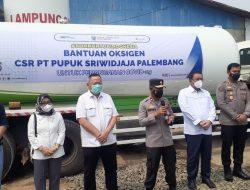 Polda Lampung Kembali Menerima Bantuan 10 Ton Oksigen Dari PT Pusri Untuk Masyarakat Lampung