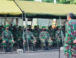 Danrem Terima Laporan Korps Raport 18 Prajurit yang Kembali dari Penugasan Satgas Ter dan 63 Orang Masuk Organik Satuan Korem 043/Gatam