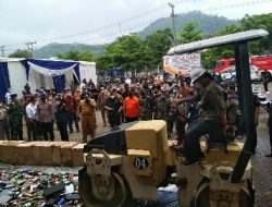 Kasi Intel Kasrem 043/Gatam Hadiri Pemusnahan Barang milik Negara Hasil Penindakan KPBC TMP B Bandar Lampung