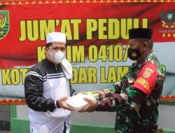 Kodim 0410/KBL Menggelar Kegiatan Jumat Peduli di Masjid Jami' Al-Mabrur